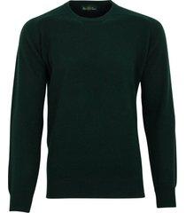 pullover alan paine tartan green ronde hals
