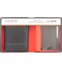 guess men's rfid trifold wallet and business card gift set