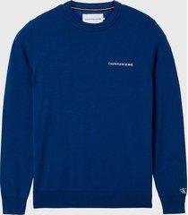 polerón calvin klein jeans sweater crew azul - calce regular