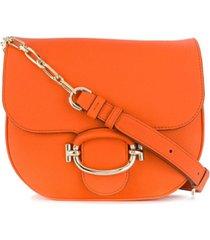 tod's bolsa tiracolo com aba - laranja