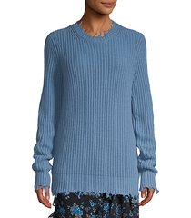 distressed shaker knit cashmere pullover sweater
