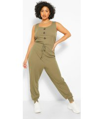 plus rib button down jumpsuit, khaki