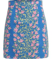 mini skirt in blue with pink bougainvillea