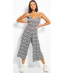 floral cami culotte jumpsuit, black