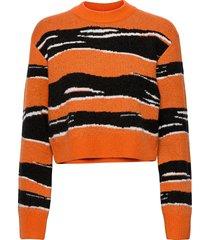 mona amua jacqrd overszd jmpr stickad tröja orange french connection
