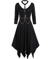 asymmetrical choker chains handkerchief long sleeve dress