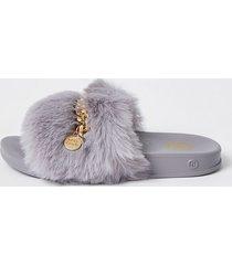river island girls grey faux fur chain sliders