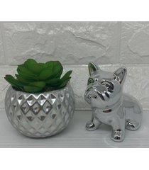 conjunto decorativo vaso com trabalhado geomã©trico e bulldog prata - prata - feminino - dafiti