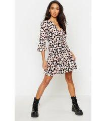 luipaardprint jurk met strik, roze