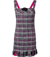 chanel pre-owned 2007 checked tweed dress - black