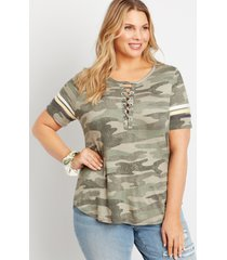 maurices plus size womens 24/7 camo lace up neck tee green