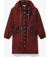 proenza schouler white label crinkled cotton coat red wash l
