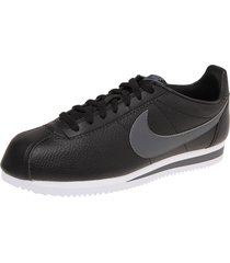 tenis lifestyle negro/gris nike cortez leather