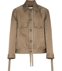 song for the mute worker frayed jacket - green