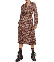 women's scotch & soda floral long sleeve wrap midi dress