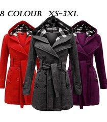 2017womens warm fleece hooded jacket with belt coat hooded woolen coat belt doub
