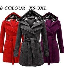 2017womens warm fleece hooded jacket with belt coat hooded woolen coat belt doub