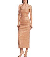 embellished metallic midi dress