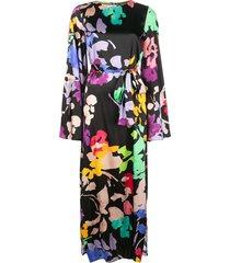 caroline constas belted floral maxi dress - black