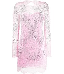 ermanno scervino studded lace mini dress - pink