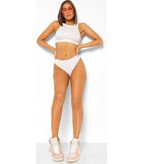 geribbelde onderbroek met hoge taille en contrasterende stiksels, white