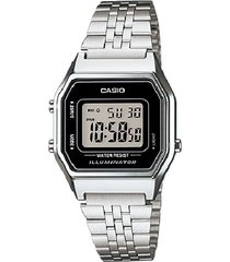 reloj casio la680wa-1d retro para dama plateado - negro