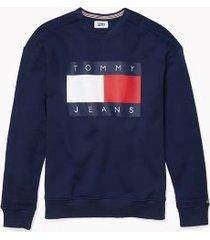 tommy hilfiger men's adaptive logo flag sweatshirt black iris - xl