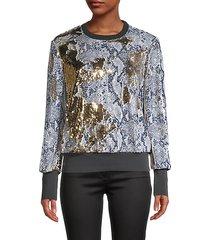 embellished snakeskin-print sweatshirt
