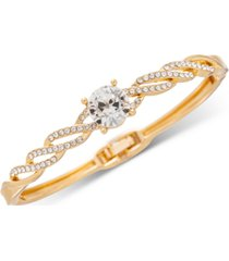 charter club gold-tone crystal twist hinge bracelet, created for macy's