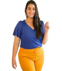 blusa acanalada con detalle en hombro azul plica