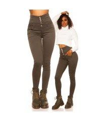 sexy 5 zak hoge taille skinny jeans khaki