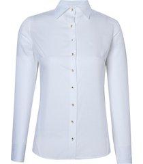 camisa dudalina manga longa tricoline maquinetado mix botões feminina (branco, 46)
