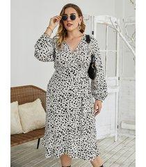 abrigo de leopardo con cuello en v y talla grande diseño mangas largas midi vestido