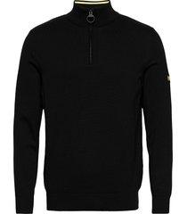 b.intl cotton half zip knitwear half zip jumpers svart barbour