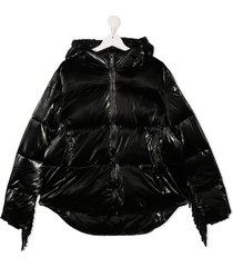 monnalisa teen puffer tassel jacket - black