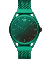 emporio armani men's green aluminum mesh bracelet watch 43mm