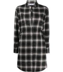 off-white drawstring checkered shirt dress - black