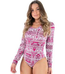 body estampado manga longa costa fechada collant feminino
