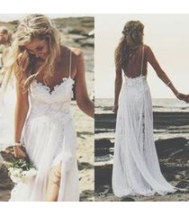 perfect boho beach wedding dress a line spaghetti straps lace white wedding gown