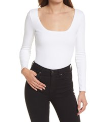 allsaints jamie long sleeve ribbed bodysuit, size 0 us in optic white at nordstrom