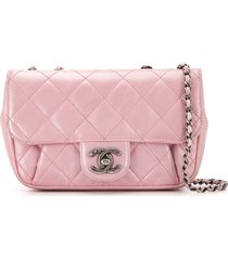 chanel pre-owned 2015 metallic diamond quilted shoulder bag - pink