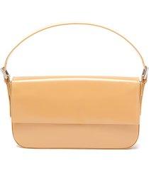 'manu' semi patent leather baguette shoulder bag