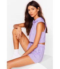 womens perfect match cropped hoodie and shorts set - lilac
