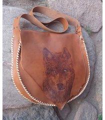 duża torebka skórzana z wilkiem