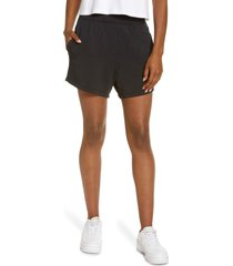 zella peaceful cozy court shorts, size large in black at nordstrom