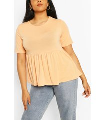 plus recycled basic smock top, apricot