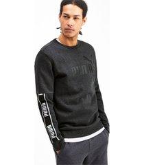 amplified sweater met lange mouwen voor heren, grijs/heide, maat l   puma