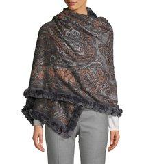 la fiorentina women's reversible rabbit fur-trim cashmere wrap scarf - multi print