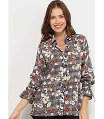 camisa angel city floral manga longa amarração feminina