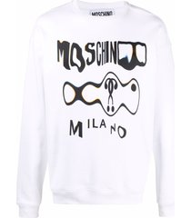 moschino graphic-print drop-shoulder sweatshirt - white